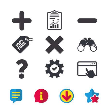 Plus- en minuspictogrammen. Verwijder en ondervraag FAQ-borden. Zoom symbool vergroten. Browservenster, rapport en serviceborden. Verrekijker, informatie en download pictogrammen. Sterren en chatten. Vector Stock Illustratie