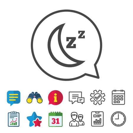 Sleep sign icon. Moon with zzz button. Standby. Information, Report and Calendar signs. Group, Service and Chat line icons. Vector