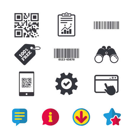 Bar and Qr code icons. Scan barcode in smartphone symbols. Browser window, Report and Service signs. Binoculars, Information and Download icons. Stars and Chat. Vector