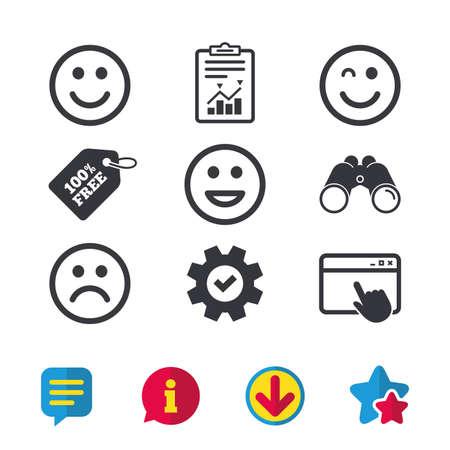 Icone di sorriso Simbolo di facce felici, tristi e ammiccanti. Segni di smiley lol ridendo. Finestra del browser, segnalazioni e segni di servizio. Binocoli, informazioni e icone di download. Stelle e chat. Vettore Archivio Fotografico - 83637376