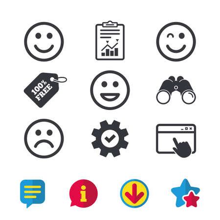 Smile icons. Happy, sad and wink faces symbol. Laughing lol smiley signs. Browser window, Report and Service signs. Binoculars, Information and Download icons. Stars and Chat. Vector