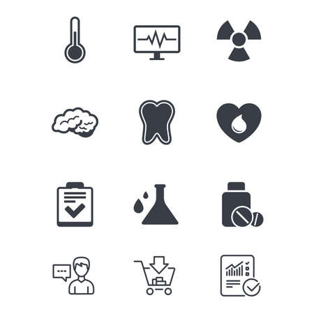 医学、医療健康診断アイコン。血寄付、温度計と錠剤の兆候。歯、神経のシンボル。顧客サービス、ショッピングカート、レポート行の標識。オン  イラスト・ベクター素材