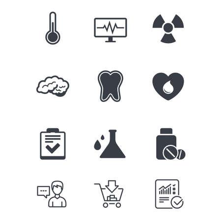 Medizin, medizinische Gesundheit und Diagnose-Symbole. Blut spenden, Thermometer und Pillen Zeichen. Zahn, Neurologiesymbole. Kundendienst, Einkaufswagen und Berichtslinie Zeichen. Online-Shopping und Statistik Standard-Bild - 83637378