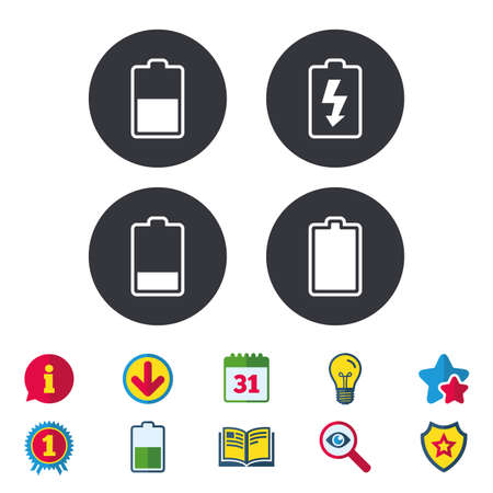 Battery charging icons. Electricity signs symbols. Charge levels: full, half and low. Calendar, Information and Download signs. Stars, Award and Book icons. Light bulb, Shield and Search. Vector