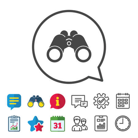 Binoculars icon. Find software sign. Spy equipment symbol. Information, Report and Calendar signs. Group, Service and Chat line icons. Vector Imagens - 83637382