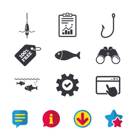 fishhook: Fishing icons. Fish with fishermen hook sign. Float bobber symbol. Browser window, Report and Service signs. Binoculars, Information and Download icons. Stars and Chat. Vector