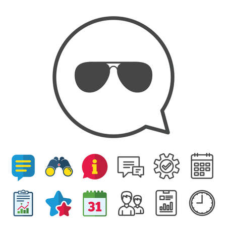 Aviator sunglasses sign icon. Pilot glasses button. Information, Report and Calendar signs. Group, Service and Chat line icons. Vector