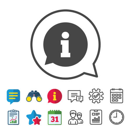 calendar icon: Information sign icon. Info speech bubble symbol. Information, Report and Calendar signs. Group, Service and Chat line icons. Vector