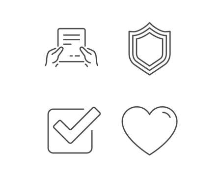 Report file, Protection and Check line icons. Heart or Love sign. Quality design elements. Editable stroke. Vector 向量圖像