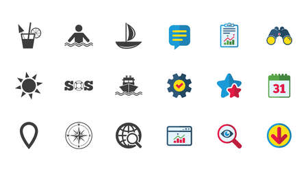 compass rose: Cruise trip, ship and yacht icons. Travel, cocktail and sun signs. Sos, windrose compass and swimming symbols. Calendar, Report and Download signs. Stars, Service and Search icons. Vector Illustration