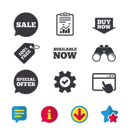 Sale icons. Special offer speech bubbles symbols. Buy now arrow shopping signs. Available now. Browser window, Report and Service signs. Binoculars, Information and Download icons. Stars and Chat