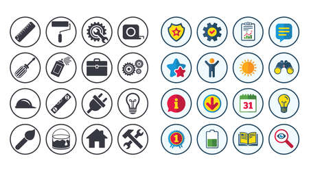 Set of Construction tools, Engineering and Repair icons. Electric plug, Helmet and Screwdriver signs. Lamp, Hammer and Paint symbols. Calendar, Report and Book signs. Stars, Service and Download icons