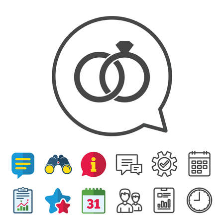 Wedding rings sign icon. Engagement symbol. Information, Report and Calendar signs. Group, Service and Chat line icons. Vector