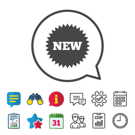 New sign icon. New arrival star symbol. Information, Report and Calendar signs. Group, Service and Chat line icons. Vector