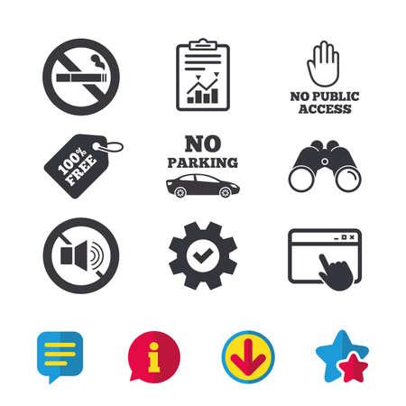 Stop met roken en geen geluidssignalen. Eigen parkeerplaats of openbare toegang. Sigaret en handsymbool. Browservenster, rapport en serviceborden. Verrekijker, informatie en download pictogrammen. Vector Stock Illustratie