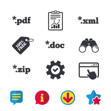 アイコンを文書化します。ファイル拡張子のシンボル。PDF、ZIP 圧縮、XML およびドキュメントに署名します。ブラウザー ウィンドウ、レポートとサ  イラスト・ベクター素材