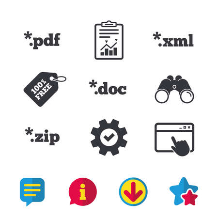 Document icons. File extensions symbols. PDF, ZIP zipped, XML and DOC signs. Browser window, Report and Service signs. Binoculars, Information and Download icons. Stars and Chat. Vector Illustration
