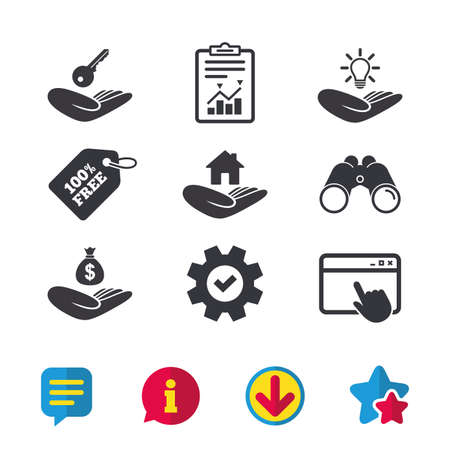 Helping hands icons. Financial money savings insurance symbol. Home house or real estate and lamp, key signs. Browser window, Report and Service signs. Binoculars, Information and Download icons Illustration