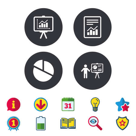 calendar icon: File document with diagram. Pie chart icon. Presentation billboard symbol. Supply and demand. Calendar, Information and Download signs. Stars, Award and Book icons. Light bulb, Shield and Search