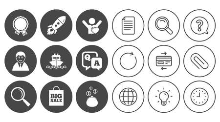 Online shopping, e-commerce and business icons. Startup, award and customers like signs. Cash money, shipment and sale symbols. Document, Globe and Clock line signs. Vector