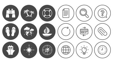 Cruise trip, ship and yacht icons. Travel, lifebuoy and palm trees signs. Binoculars, windrose and storm symbols. Document, Globe and Clock line signs. Lamp, Magnifier and Paper clip icons. Vector Illustration