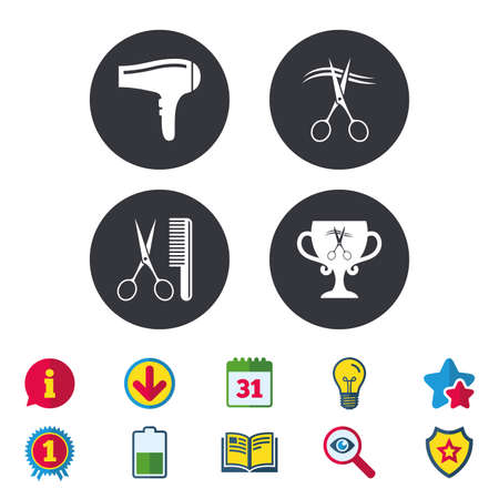 Hairdresser icons. Scissors cut hair symbol. Comb hair with hairdryer symbol. Barbershop winner award cup. Calendar, Information and Download signs. Stars, Award and Book icons. Vector