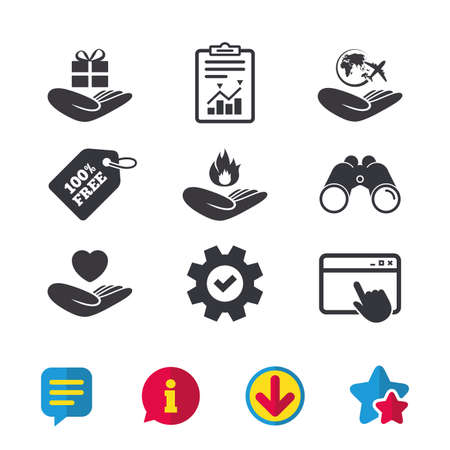 Helping hands icons. Health and travel trip insurance symbols. Gift present box sign. Fire protection. Browser window, Report and Service signs. Binoculars, Information and Download icons. Vector Illustration