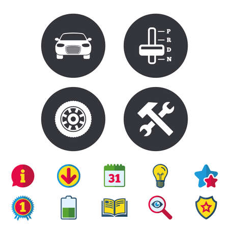 Transport icons. Car tachometer and automatic transmission symbols. Repair service tool with wheel sign. Calendar, Information and Download signs. Stars, Award and Book icons. Vector