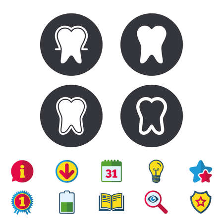 calendar icon: Tooth enamel protection icons. Dental toothpaste care signs. Healthy teeth sign. Calendar, Information and Download signs. Stars, Award and Book icons. Light bulb, Shield and Search. Vector