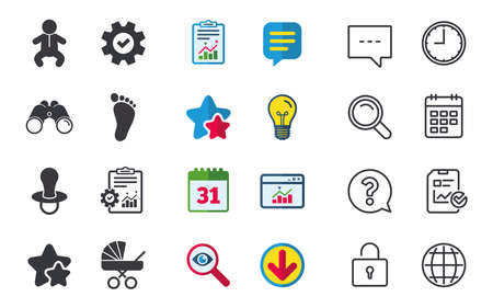 toilet: Baby infants icons. Toddler boy with diapers symbol. Buggy and dummy signs. Child pacifier and pram stroller. Child footprint step sign. Chat, Report and Calendar signs. Vector