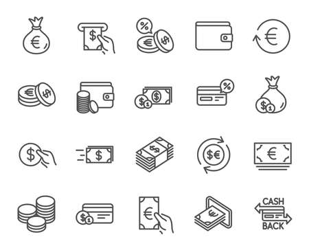 Money line icons. Set of Credit card, Cash and Coins signs. Banking, Currency exchange and Cashback service. Wallet, Euro and Dollar symbols. Quality design elements. Editable stroke. Vector