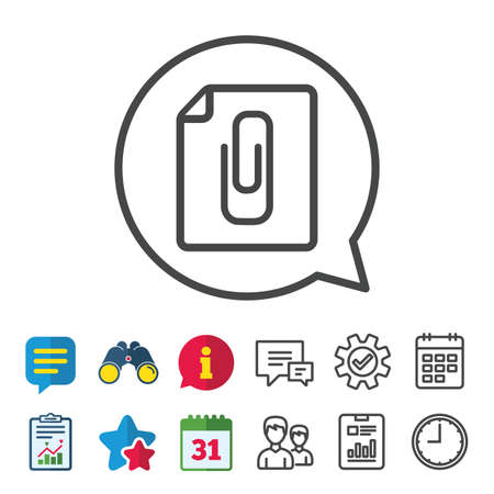 File annex icon. Paper clip symbol. Attach symbol. Information, Report and Calendar signs. Group, Service and Chat line icons. Vector 向量圖像