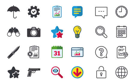 Gun weapon icon.Knife, umbrella and photo camera signs. Edged hunting equipment. Prohibition objects. Chat, Report and Calendar signs. Stars, Statistics and Download icons. Question, Clock and Globe Illustration
