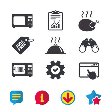 Microwave grill oven icons. Cooking chicken signs. Food platter serving symbol. Browser window, Report and Service signs. Binoculars, Information and Download icons. Stars and Chat. Vector Illustration