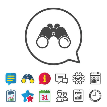 Binoculars icon. Find software sign. Spy equipment symbol. Information, Report and Calendar signs. Group, Service and Chat line icons. Vector