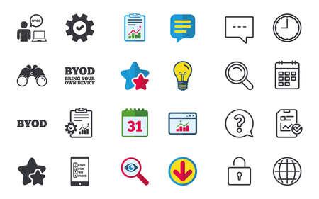 BYOD アイコン。ノート パソコンとスマート フォンの兆候と人間。音声バブルの象徴。チャット、報告書、カレンダーのサイン。星、統計、ダウンロ  イラスト・ベクター素材