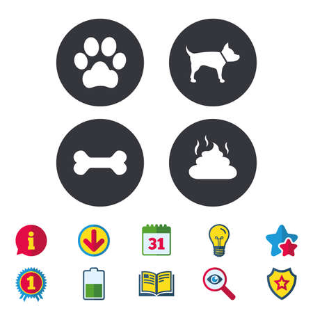 Pets icons. Dog paw and feces signs. Clean up after pets. Pets food. Calendar, Information and Download signs. Stars, Award and Book icons. Light bulb, Shield and Search. Vector Çizim