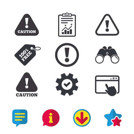 Attention caution icons. Hazard warning symbols. Exclamation sign. Browser window, Report and Service signs. Binoculars, Information and Download icons. Stars and Chat. Vector