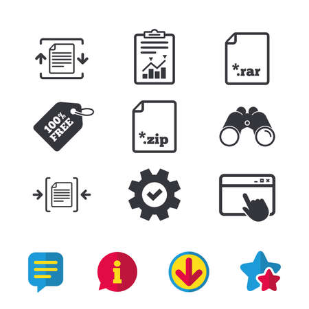 Archive file icons. Compressed zipped document signs. Data compression symbols. Browser window, Report and Service signs. Binoculars, Information and Download icons. Stars and Chat. Vector