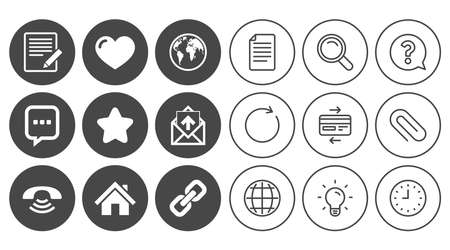 Mail, contact icons. Favorite, like and internet signs. E-mail, chat message and phone call symbols. Document, Globe and Clock line signs. Lamp, Magnifier and Paper clip icons. Vector