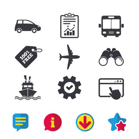 Transport icons. Car, Airplane, Public bus and Ship signs. Shipping delivery symbol. Air mail delivery sign. Browser window, Report and Service signs. Binoculars, Information and Download icons