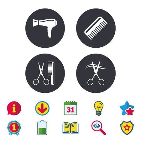 Hairdresser icons. Scissors cut hair symbol. Comb hair with hairdryer sign. Calendar, Information and Download signs. Stars, Award and Book icons. Light bulb, Shield and Search. Vector Illustration