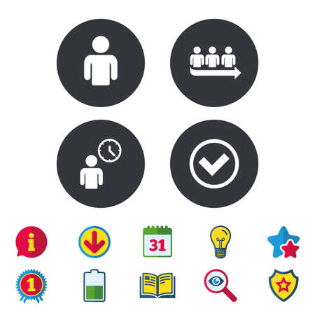 calendar icon: Queue icon. Person waiting sign. Check or Tick and time clock symbols. Calendar, Information and Download signs. Stars, Award and Book icons. Light bulb, Shield and Search. Vector Illustration