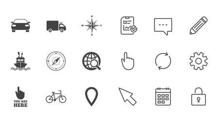 Navigation, GPS-Symbole. Windrose-, Kompass- und Kartenzeigerzeichen. Fahrrad-, Schiffs- und Autosymbole. Zeichen für Chat, Bericht und Kalenderzeile. Service-, Bleistift- und Schließfach-Symbole. Klicken Sie auf, Drehung und Cursor Standard-Bild - 83658440
