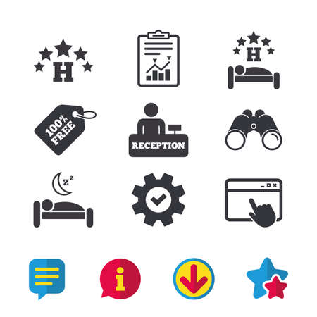 Five stars hotel icons. Travel rest place symbols. Human sleep in bed sign. Hotel check-in registration or reception. Browser window, Report and Service signs. Vector 向量圖像