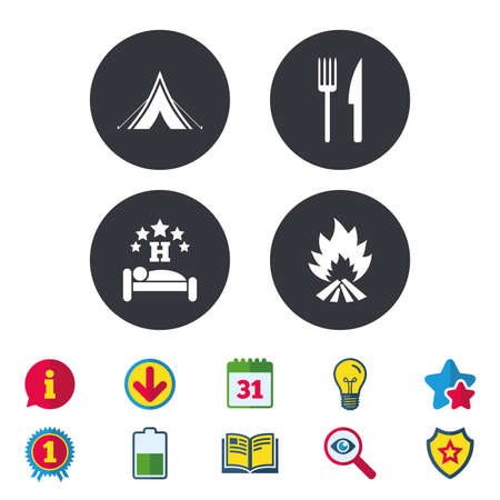 Food, sleep, camping tent and fire icons. Knife and fork. Hotel or bed and breakfast. Road signs. Calendar, Information and Download signs. Stars, Award and Book icons. Light bulb, Shield and Search