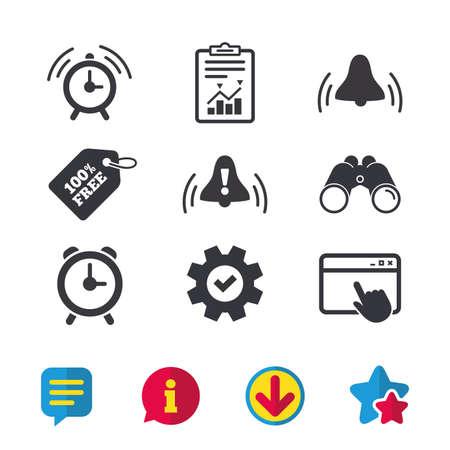 Wekker pictogrammen. Wakker worden beltekens symbolen. Uitroepteken. Browservenster, rapport en serviceborden. Verrekijker, informatie en download pictogrammen. Sterren en chatten. Vector