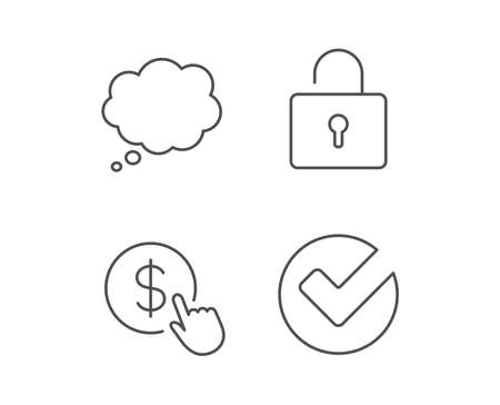 Locker, Check and Comic speech bubble line icons. Pay or Buy dollars sign. Quality design elements. Editable stroke. Vector