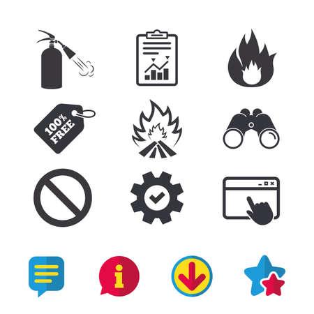 Icônes de flamme de feu. Signe d'extincteur. Symbole d'arrêt d'interdiction. Fenêtre du navigateur, panneaux de rapport et de service. Jumelles, informations et icônes de téléchargement. Étoiles et chat. Vecteur Banque d'images - 83637205
