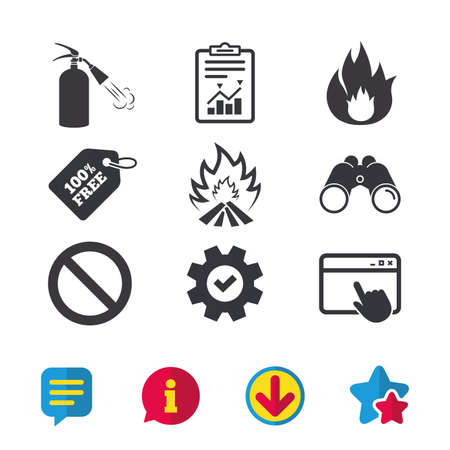 Fire flame icons. Fire extinguisher sign. Prohibition stop symbol. Browser window, Report and Service signs. Binoculars, Information and Download icons. Stars and Chat. Vector